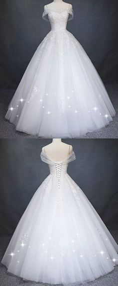 6360636dab2 Attractive Tulle Off-the-shoulder Neckline A-Line Wedding Dress With Beaded  Lace Appliques