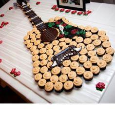 Groom's cake: Guitar made of cupcakes