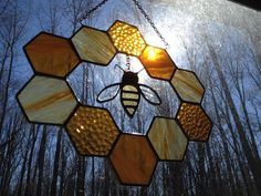 Stained Glass Bee and Honeycomb Wreath by GlassStudio820 on Etsy