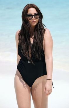 Amelia Goodman in Black Swimsuit in the Bahamas Beach- 05