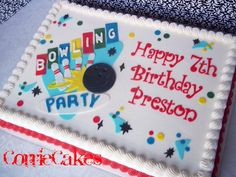 Super cute bowling sheet cake by CorrieCakes Bowling Birthday Cakes, 4th Birthday Cakes, Boy Birthday, Birthday Ideas, Birthday Shirts, Cakes Without Fondant, Brithday Cake, Sports Themed Cakes, Rectangle Cake
