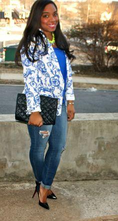Style & Poise-Winter Brights: Sheinside blazer/Pigalle 100/Joe's Jeans