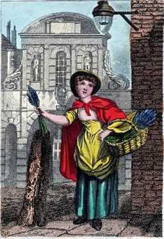 """""""Itinerant Traders of London in their Ordinary Costume with Notices of Remarkable Places given in the Background"""" by William Marshall Craig (1804): """"Lavender – """"Six bunches a penny, sweet lavender!"""" is the cry that invites in the street the purchasers of this cheap and pleasant perfume. A considerable quantity of the shrub is sold to the middling-classes of the inhabitants, who are fond of placing lavender among their linen..."""""""""""