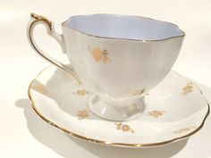 Antique Queen Anne Tea Cup and Saucer English Bone China