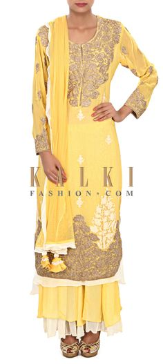 Buy Online from the link below. We ship worldwide (Free Shipping over US$100) Price- $259 Click Anywhere to Tag http://www.kalkifashion.com/yellow-anarkali-suit-featuring-in-thread-and-zari-embroidery-only-on-kalki.html