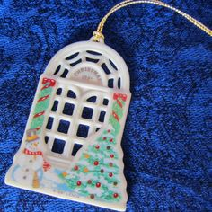 """Lenox China Christmas Ornament-1991 Holiday Homecoming Series """"WINDOW"""", with winter outside scene and warm X-mas inside scene. Collectible"""