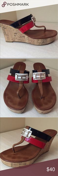 Tommy Hilfiger wedge sandals Red white and blue leather upper - has buckle on the front - no signs of ware - so perfect for summer weather! Tommy Hilfiger Shoes Wedges