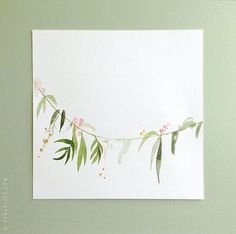 "ORIGINAL PAINTING - Watercolor floral garland painting - Art - 7.5"" x 7.5"""