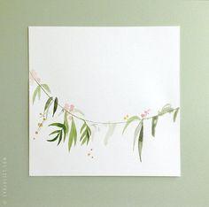 ORIGINAL Gemälde Aquarell Blumen Girlande Malerei von evajuliet