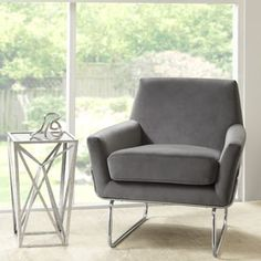 Madison Park Kennedy Grey Chrome Accent Chair