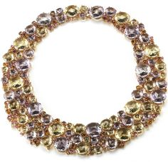 A & Furst - Bouquet Collection - Rose de France, honey citrine, pink tourmaline, orange sapphire, pink sapphire and diamond necklace.