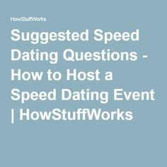 What Dating Ask At To Speed Event
