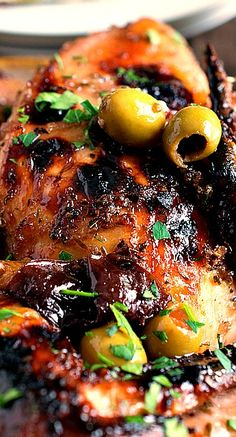 Chicken Marbella. Green olives and prunes are excellent together esp with the blandness of chicken