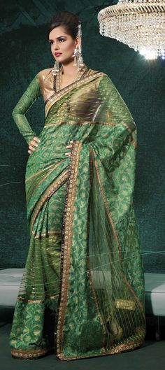 Jade Green Banarasi Silk Saree