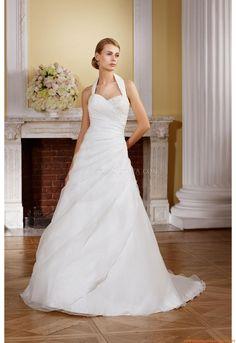 Nackhalter A-linie Schönste Brautkleider 2014 aus Organza mit Applikation