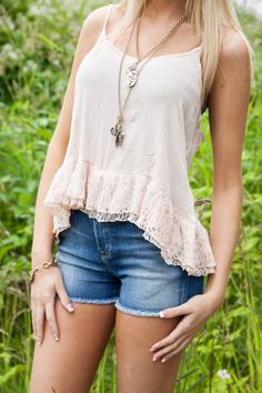 NEW Peach Lace Bottom Tank | High Waisted Shorts | Big Star Denim | Charm Necklace | Summer Style at Hoity Toity