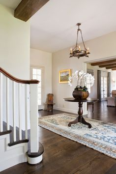 Stair Systems | painted square balusters with over-the-post handrail, house of turquoise design | Bayer Built Woodworks, Inc.