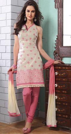 $42.44 Cream Thread Work Cotton Churidar Salwar Kameez 23707