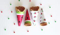 FREE Printable Watermelon Ice Cream Cone Wrapper