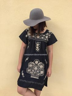 Mexican dress mini tunic embroidered mexican party day of the dead cinco de mayo bridesmaid dress mexican wedding frida kahlo halloween by Miamorcitocorazon on Etsy Mexican Dresses, Mexican Party, Nice Dresses, Bridesmaid Dresses, Tunic, Celebs, Shirt Dress, Halloween, Cotton