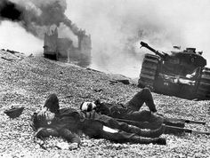 Wounded Canadian soldiers on the beach at Dieppe 19 August 1942