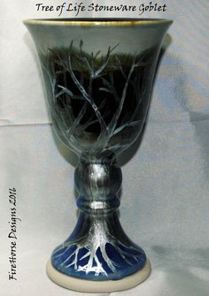 Stoneware goblet with tree of life design by FireHorse Designs