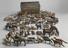 """Original Toy Noah's Ark and Animals - Hand Carved and Painted Wood  Camel 3.5"""" high, German Erzgebirge Region, c.1860"""