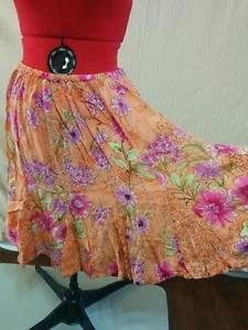 """Flouncy Full Skirt Forbidden Size M 100% Rayon Orange w/ Floral Full Sweep """