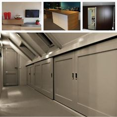 I like finish of doors for large storage area at top of stairs Attic Loft, Loft Room, Attic Rooms, Attic Spaces, Bedroom Loft, Home Bedroom, Eaves Storage, Loft Storage, Storage Area