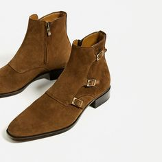 ZARA - MAN - SPECIAL EDITION BROWN LEATHER THREE BUCKLE ANKLE BOOTS