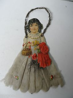 Old 1800's DIECUT TINSEL CHRISTMAS ORNAMENT -  LARGE GIRL WITH COTTON DRESS