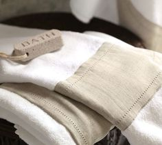 Linen Banded Bath Towels