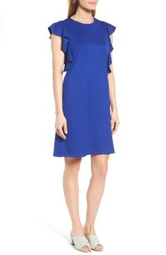 Nordstrom: Main Image - Halogen® Ruffle Shoulder A-Line Dress (Regular & Petite)