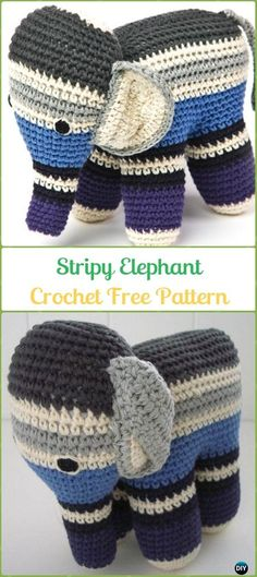 Crochet Stripy Elephant Amigurumi Free Pattern - Crochet Elephant Free Patterns