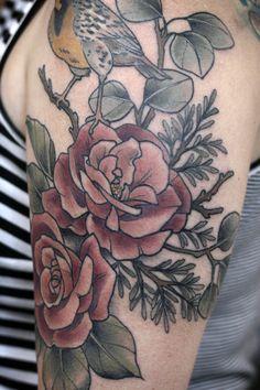 Western meadowlark, roses, juniper sprigs, eucalyptus by Kirstenmakestattoos (Tmblr)