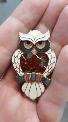 This cheeky owl means business. This bright cloisonné brooch features our wise friend clutching a sage green branch with roses at his breast. The owl is very perceptive and has great powers of observation and intuition. Handmade Items, Handmade Gifts, My Etsy Shop, Brooch, Jewellery, Unique Jewelry, Check, Gift Ideas, Vintage