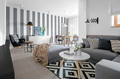 Fehér szürke fekete és egy kis türkiz - modern berendezés skandináv hangulat egy 80m2-es lakásban