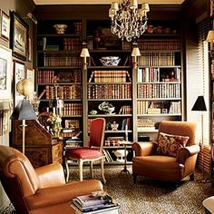 Style and color. Is this smooth leather, animal print, Victorian lines, and glitzy chandelier all blended together? Yes, it is! (having said that, I think I might prefer blue or gray bookshelves for contrast....??)