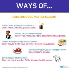 Ways of ordering food in a restaurant. -         Repinned by Chesapeake College Adult Ed. We offer free classes on the Eastern Shore of MD to help you earn your GED - H.S. Diploma or Learn English (ESL) .   For GED classes contact Danielle Thomas 410-829-6043 dthomas@chesapeke.edu  For ESL classes contact Karen Luceti - 410-443-1163  Kluceti@chesapeake.edu .  www.chesapeake.edu