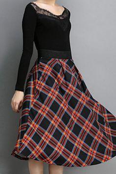 Love Plaid! Plaid Elastic High Waist Skirt