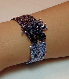 $27.00 Purple Fringed Peyote Cuff Beadwork - FREE SHIPPING