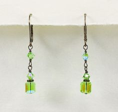 Green Crystal Bridesmaid Earrings - Bridesmaid Earrings - Beth Devine Designs