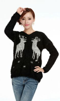 Snowflakes deer mohair knitted V neck loose sweater black