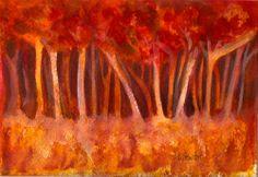 NFAC 5x7 Autumn Trees all in a row FREE mat Impressionistic SFA Penny StewArt #Impressionism www.craftylady.com