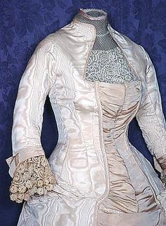 Bodice of a moire silk wedding gown, 1879.