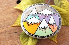 Mountain Painted Rock Medium Hand-Painted by bytherockandweed