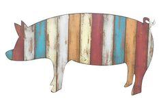 "23"" Wood Pig Plaque, Multi on OneKingsLane.com"
