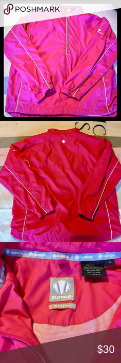 Sunice 1/4 zip weather pull-over Sunice Womens Weather 1/4 Zip L/S Pullover Windbreaker.  Size medium.  Features from pockets, inner drawstring bottom, 1/4 zip, reflective material and fully lined. Polyester. Excellent used condition. Sunice Jackets & Coats