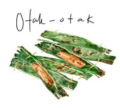 Otak otak asian food watercolor illustration