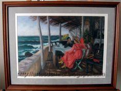 À Beira-Mar (Praia das Maçãs) Pastel, Painting, Seaside, The Beach, Cross Stitch, Pintura, Cake, Painting Art, Paintings